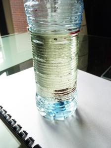 oil and water with water-based food colour in a usual plastic bottle